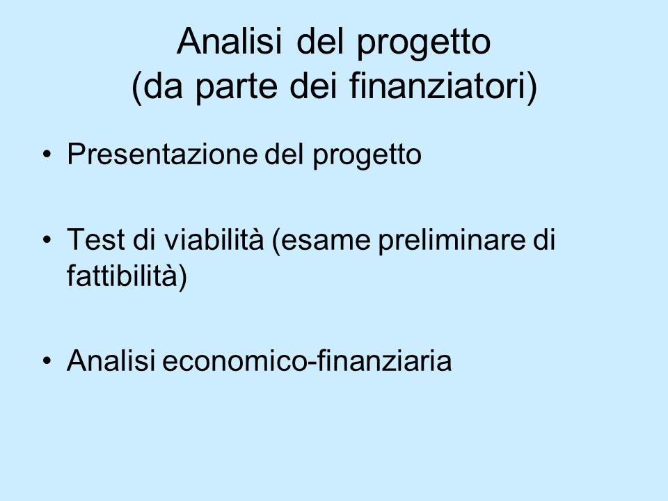 Analisi del progetto (da parte dei finanziatori) Presentazione del progetto Test di viabilità (esame preliminare di fattibilità) Analisi economico-fin