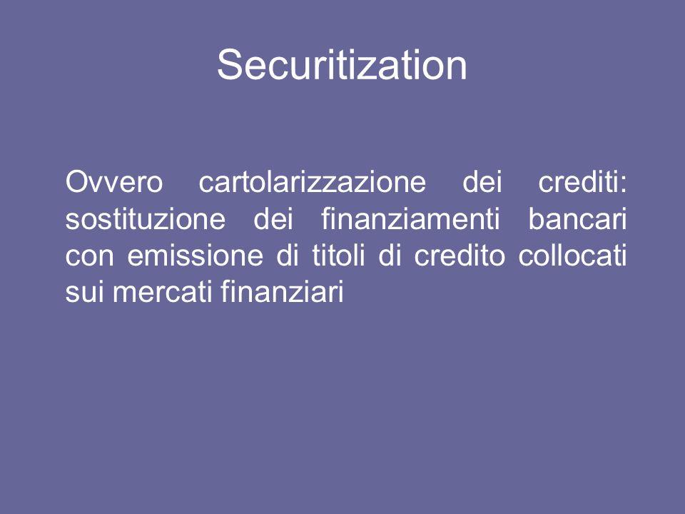 Securitization Ovvero cartolarizzazione dei crediti: sostituzione dei finanziamenti bancari con emissione di titoli di credito collocati sui mercati f