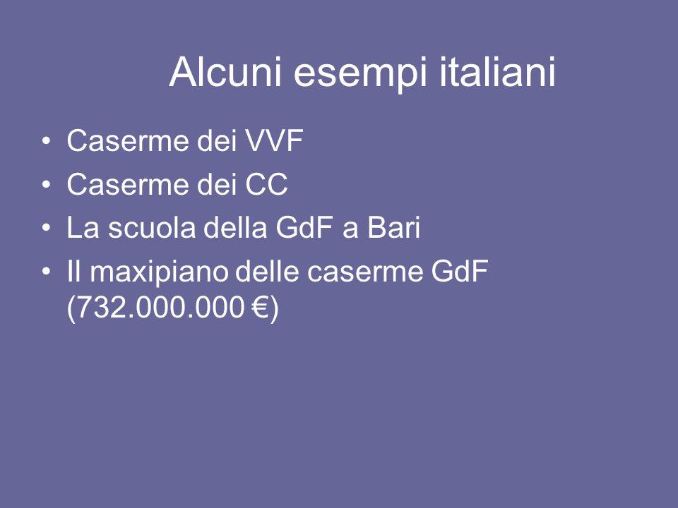 Alcuni esempi italiani Caserme dei VVF Caserme dei CC La scuola della GdF a Bari Il maxipiano delle caserme GdF (732.000.000 )