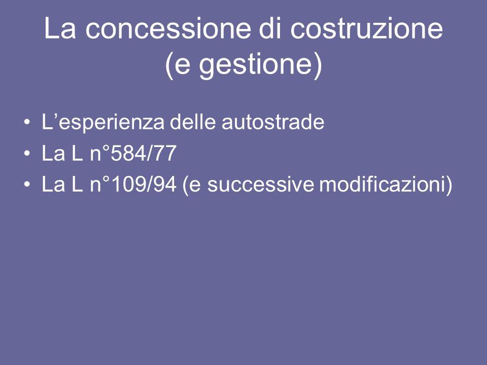 La concessione di costruzione (e gestione) Lesperienza delle autostrade La L n°584/77 La L n°109/94 (e successive modificazioni)