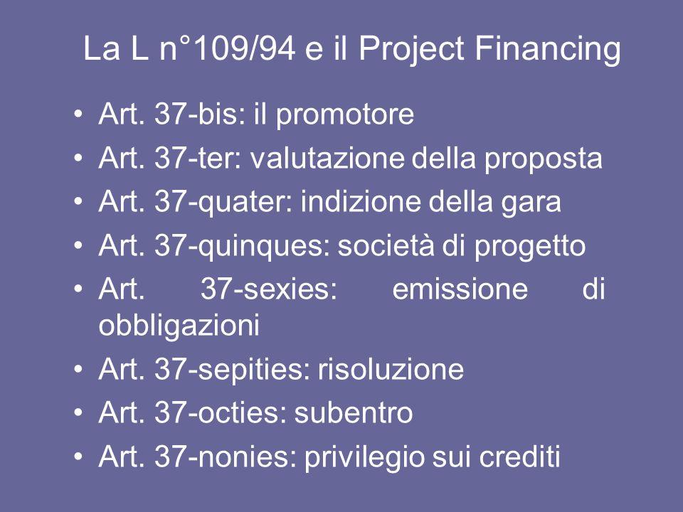 La L n°109/94 e il Project Financing Art. 37-bis: il promotore Art. 37-ter: valutazione della proposta Art. 37-quater: indizione della gara Art. 37-qu