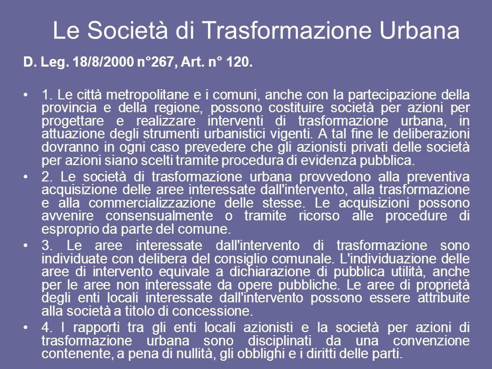 Le Società di Trasformazione Urbana D. Leg. 18/8/2000 n°267, Art. n° 120. 1. Le città metropolitane e i comuni, anche con la partecipazione della prov