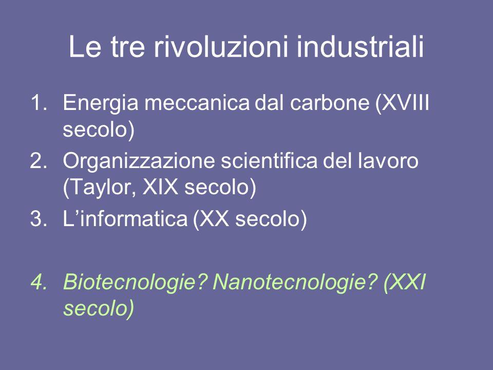 Le tre rivoluzioni industriali 1.Energia meccanica dal carbone (XVIII secolo) 2.Organizzazione scientifica del lavoro (Taylor, XIX secolo) 3.Linformat