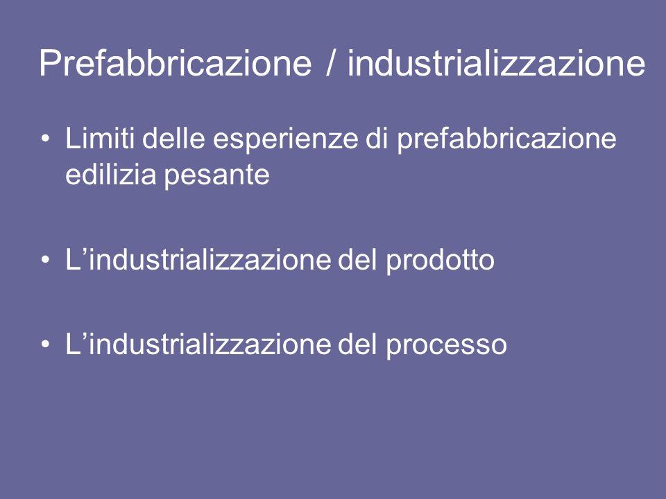 Prefabbricazione / industrializzazione Limiti delle esperienze di prefabbricazione edilizia pesante Lindustrializzazione del prodotto Lindustrializzaz