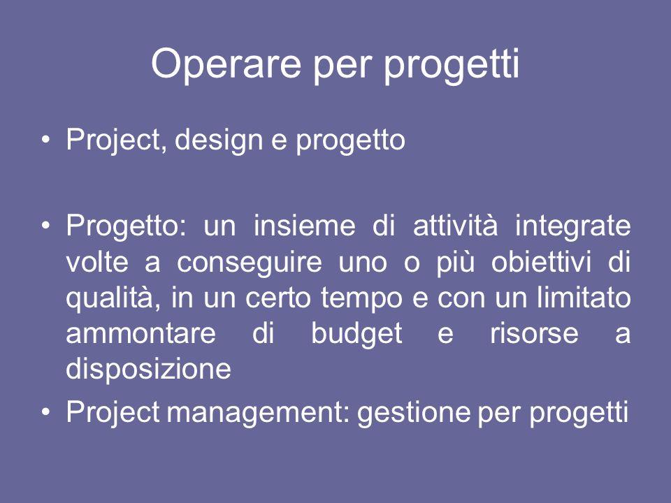Operare per progetti Project, design e progetto Progetto: un insieme di attività integrate volte a conseguire uno o più obiettivi di qualità, in un ce