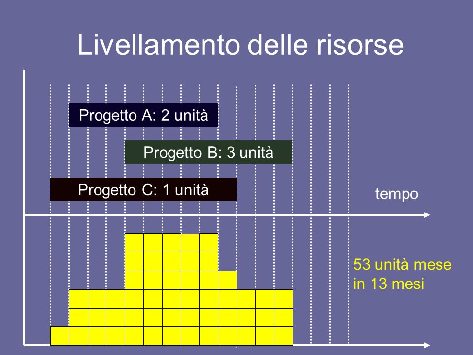 Livellamento delle risorse tempo Progetto A: 2 unità Progetto B: 3 unità Progetto C: 1 unità 53 unità mese in 13 mesi