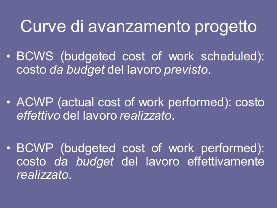 Curve di avanzamento progetto BCWS (budgeted cost of work scheduled): costo da budget del lavoro previsto. ACWP (actual cost of work performed): costo