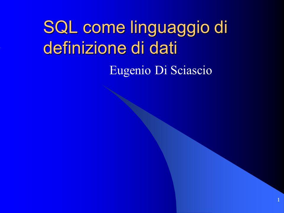 1 SQL come linguaggio di definizione di dati Eugenio Di Sciascio