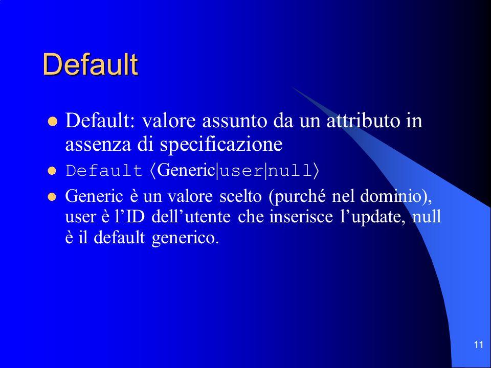 11 Default Default: valore assunto da un attributo in assenza di specificazione Default Generic| user | null Generic è un valore scelto (purché nel dominio), user è lID dellutente che inserisce lupdate, null è il default generico.