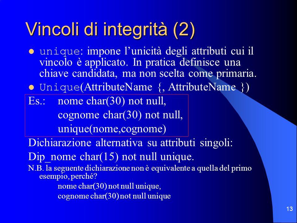 13 Vincoli di integrità (2) unique : impone lunicità degli attributi cui il vincolo è applicato. In pratica definisce una chiave candidata, ma non sce