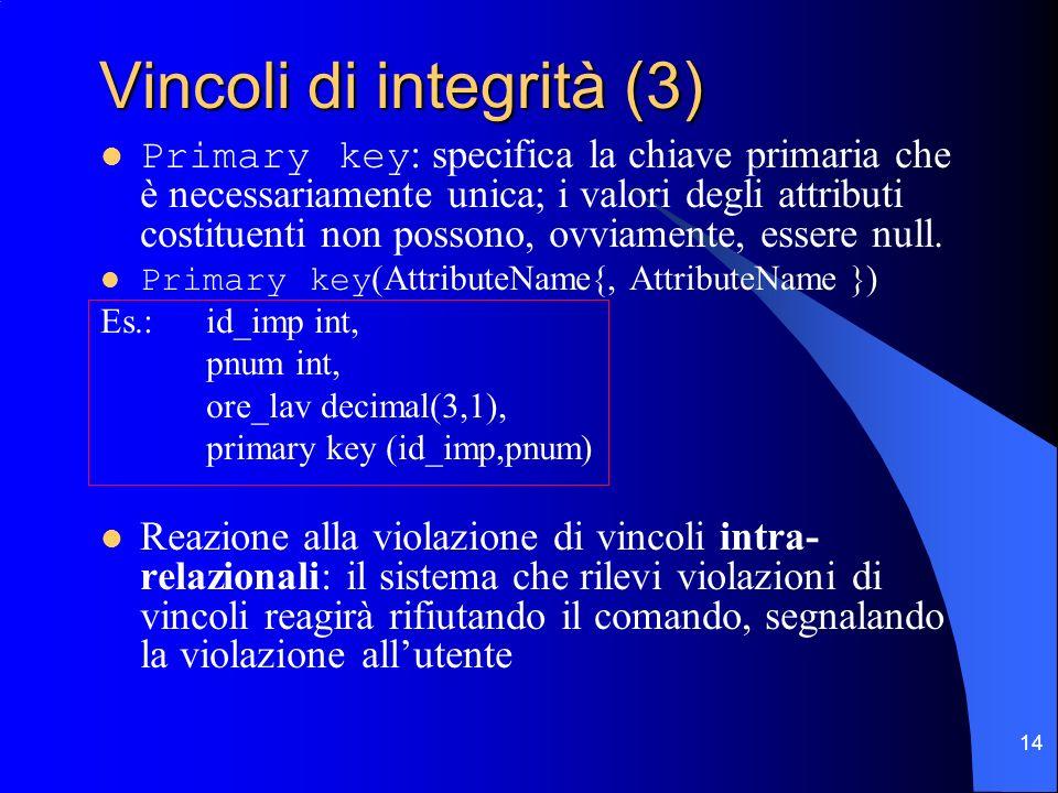 14 Vincoli di integrità (3) Primary key : specifica la chiave primaria che è necessariamente unica; i valori degli attributi costituenti non possono,