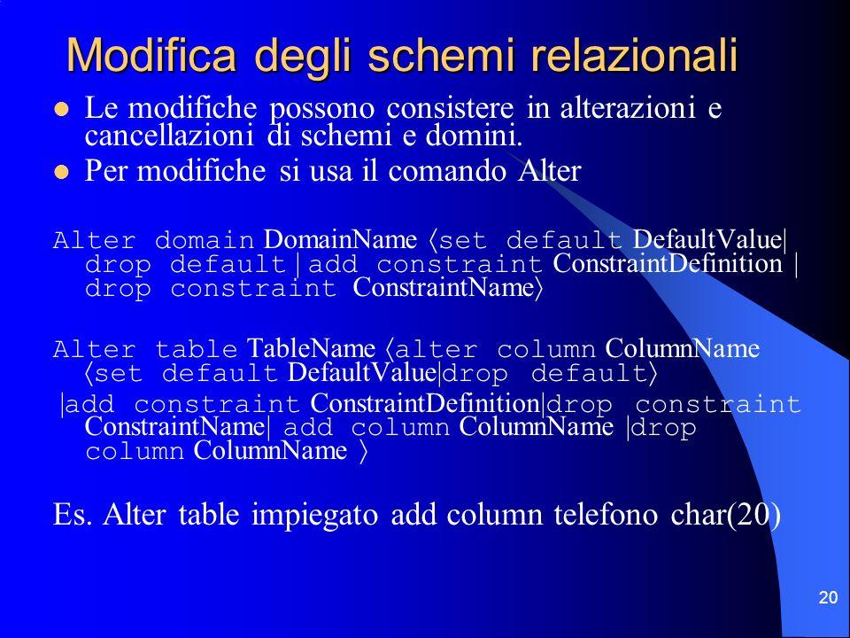 20 Modifica degli schemi relazionali Le modifiche possono consistere in alterazioni e cancellazioni di schemi e domini. Per modifiche si usa il comand
