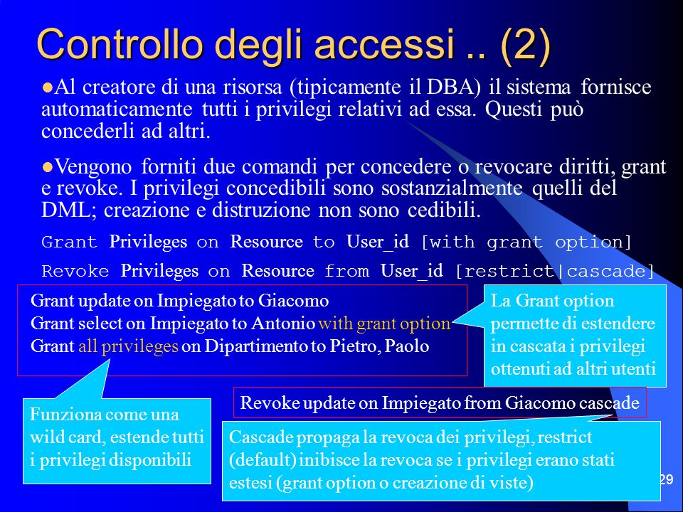 29 Controllo degli accessi.. (2) Grant update on Impiegato to Giacomo Grant select on Impiegato to Antonio with grant option Grant all privileges on D