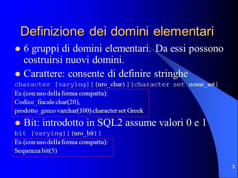 3 Definizione dei domini elementari 6 gruppi di domini elementari. Da essi possono costruirsi nuovi domini. Carattere: consente di definire stringhe c
