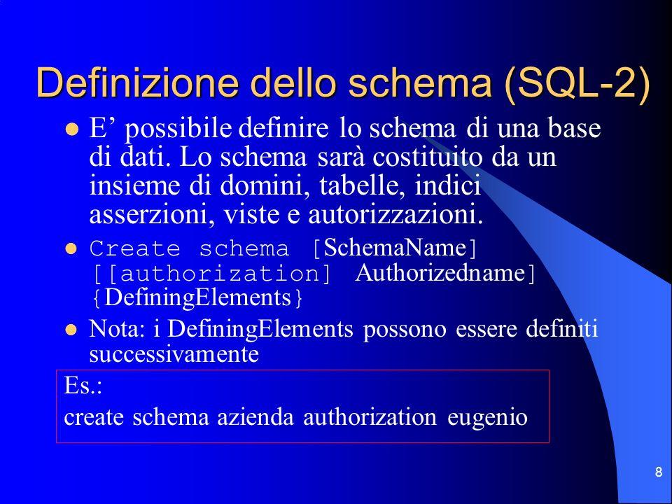9 Definizione delle tabelle Una tabella viene definita specificando una collezione ordinata di attributi e un insieme di vincoli Create table RelationName (AttributeName Domain [DefaultValue][constraints] {, AttributeName Domain [DefaultValue][constraints]} FurtherConstraints ) Es.: create table Dipartimento (IdDip integer primary key, nome char(30) not null, indirizzo char(50))