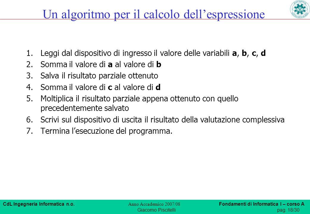 CdL Ingegneria Informatica n.o. Anno Accademico 2007/08 Fondamenti di Informatica I – corso A Giacomo Piscitellipag. 18/30 Un algoritmo per il calcolo