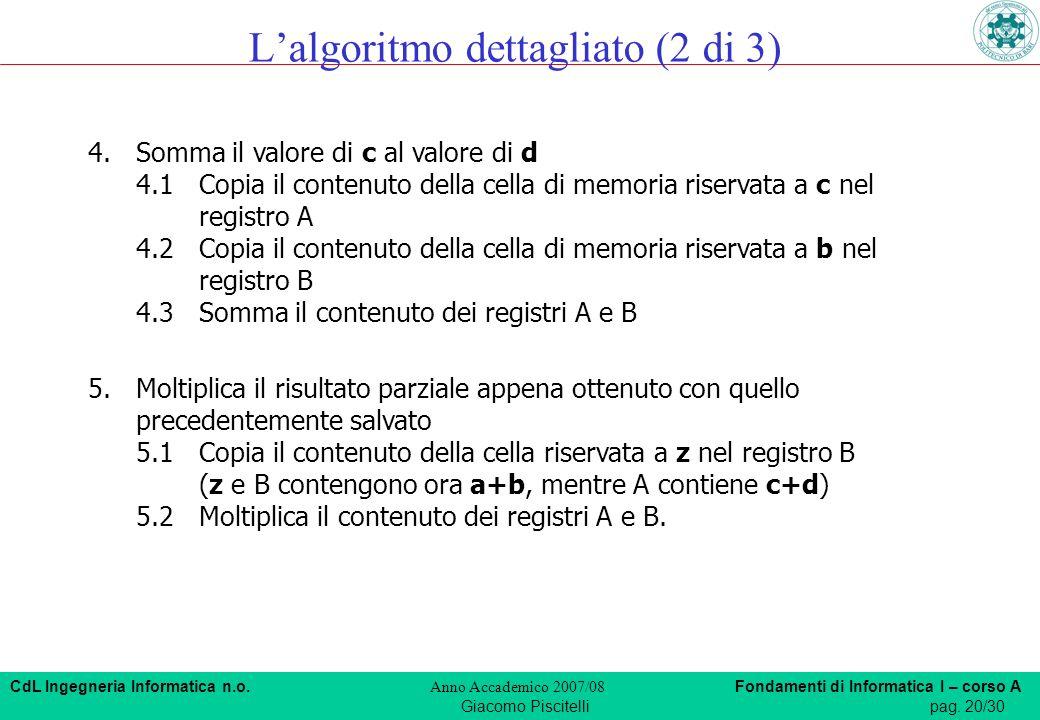 CdL Ingegneria Informatica n.o. Anno Accademico 2007/08 Fondamenti di Informatica I – corso A Giacomo Piscitellipag. 20/30 4.Somma il valore di c al v
