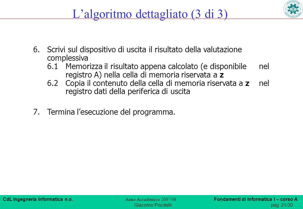 CdL Ingegneria Informatica n.o. Anno Accademico 2007/08 Fondamenti di Informatica I – corso A Giacomo Piscitellipag. 21/30 6.Scrivi sul dispositivo di