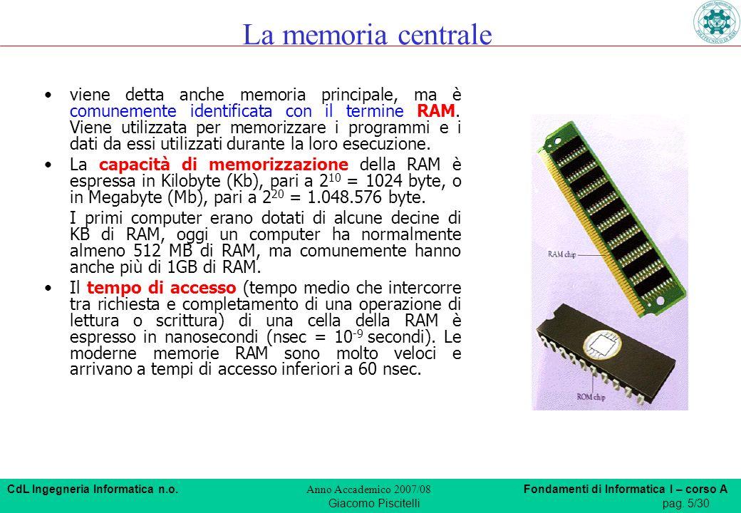 CdL Ingegneria Informatica n.o. Anno Accademico 2007/08 Fondamenti di Informatica I – corso A Giacomo Piscitellipag. 5/30 viene detta anche memoria pr