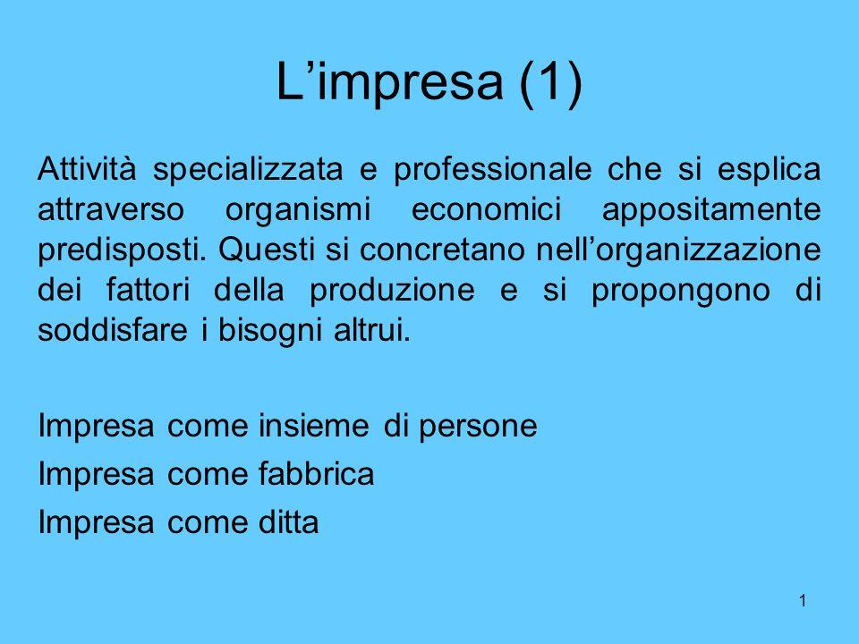 1 Limpresa (1) Attività specializzata e professionale che si esplica attraverso organismi economici appositamente predisposti. Questi si concretano ne