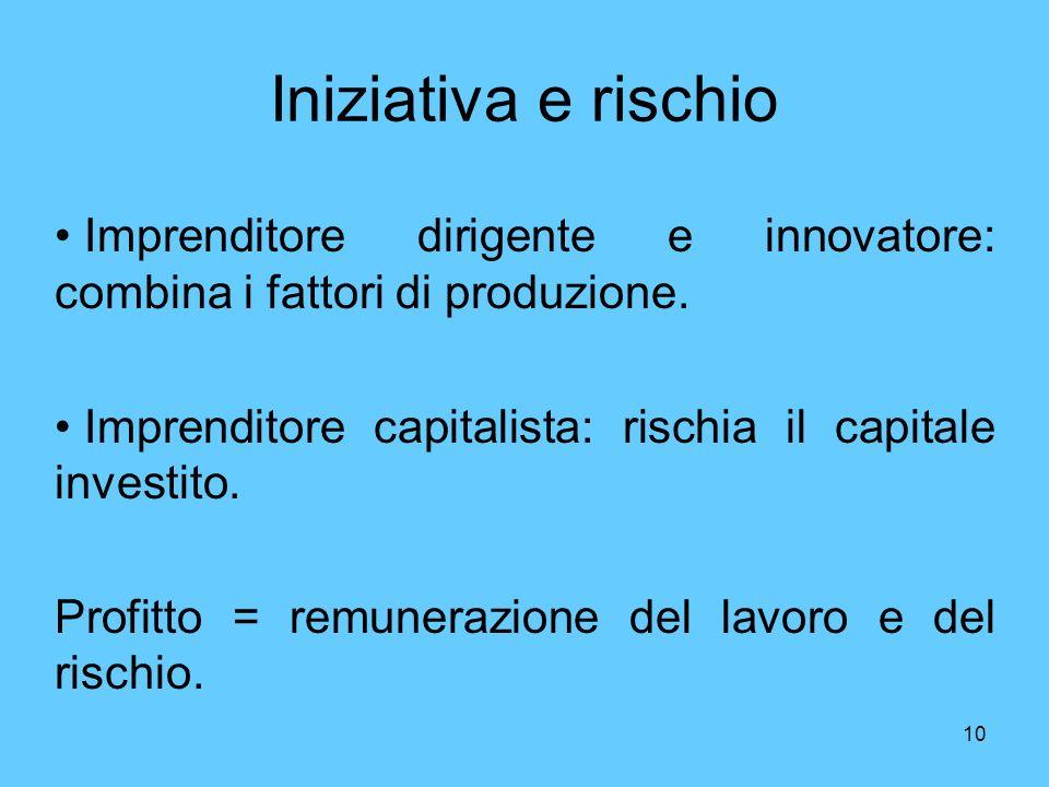 10 Iniziativa e rischio Imprenditore dirigente e innovatore: combina i fattori di produzione. Imprenditore capitalista: rischia il capitale investito.