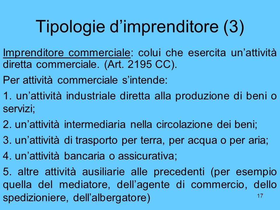 17 Tipologie dimprenditore (3) Imprenditore commerciale: colui che esercita unattività diretta commerciale. (Art. 2195 CC). Per attività commerciale s