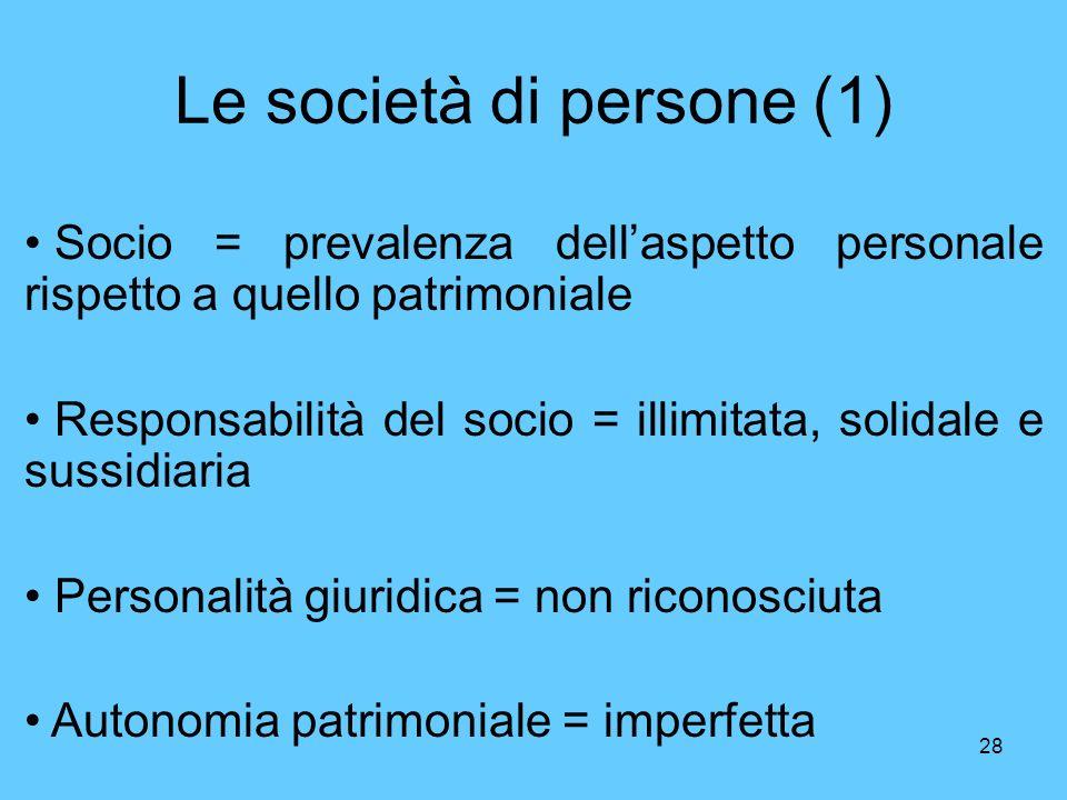 28 Le società di persone (1) Socio = prevalenza dellaspetto personale rispetto a quello patrimoniale Responsabilità del socio = illimitata, solidale e sussidiaria Personalità giuridica = non riconosciuta Autonomia patrimoniale = imperfetta