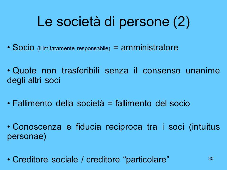 30 Le società di persone (2) Socio (illimitatamente responsabile) = amministratore Quote non trasferibili senza il consenso unanime degli altri soci F