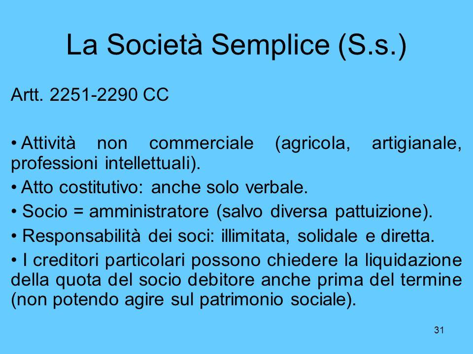 31 La Società Semplice (S.s.) Artt. 2251-2290 CC Attività non commerciale (agricola, artigianale, professioni intellettuali). Atto costitutivo: anche