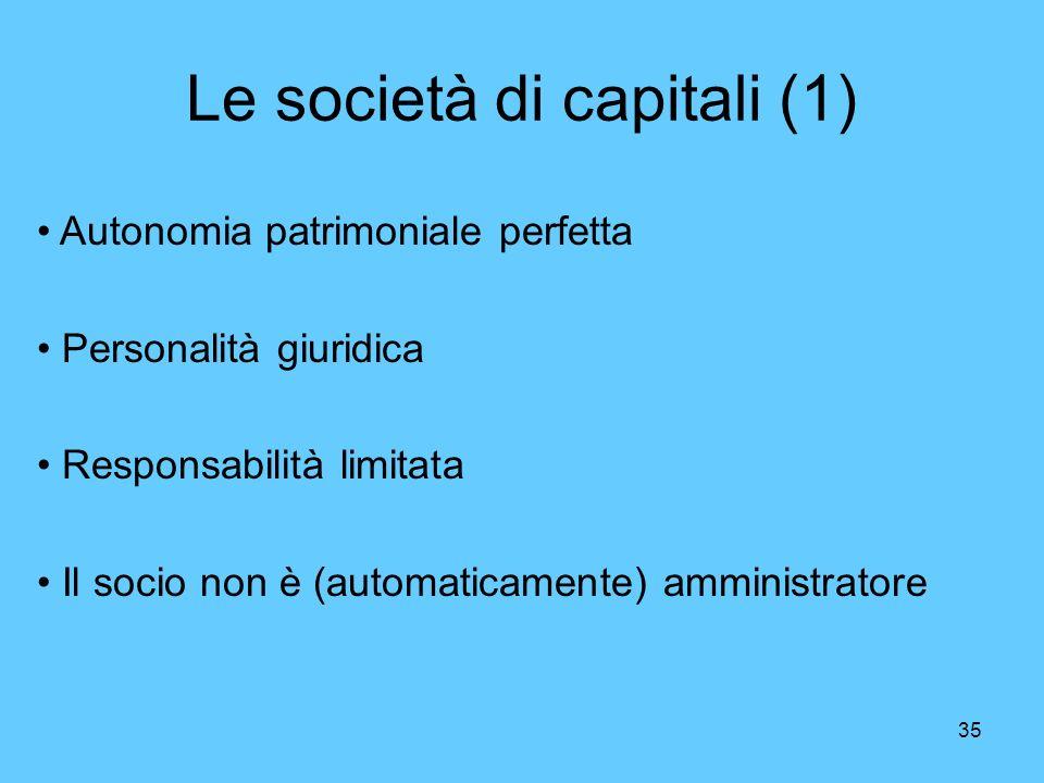35 Le società di capitali (1) Autonomia patrimoniale perfetta Personalità giuridica Responsabilità limitata Il socio non è (automaticamente) amministr