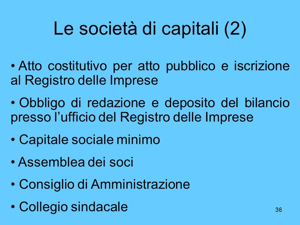 36 Le società di capitali (2) Atto costitutivo per atto pubblico e iscrizione al Registro delle Imprese Obbligo di redazione e deposito del bilancio presso lufficio del Registro delle Imprese Capitale sociale minimo Assemblea dei soci Consiglio di Amministrazione Collegio sindacale