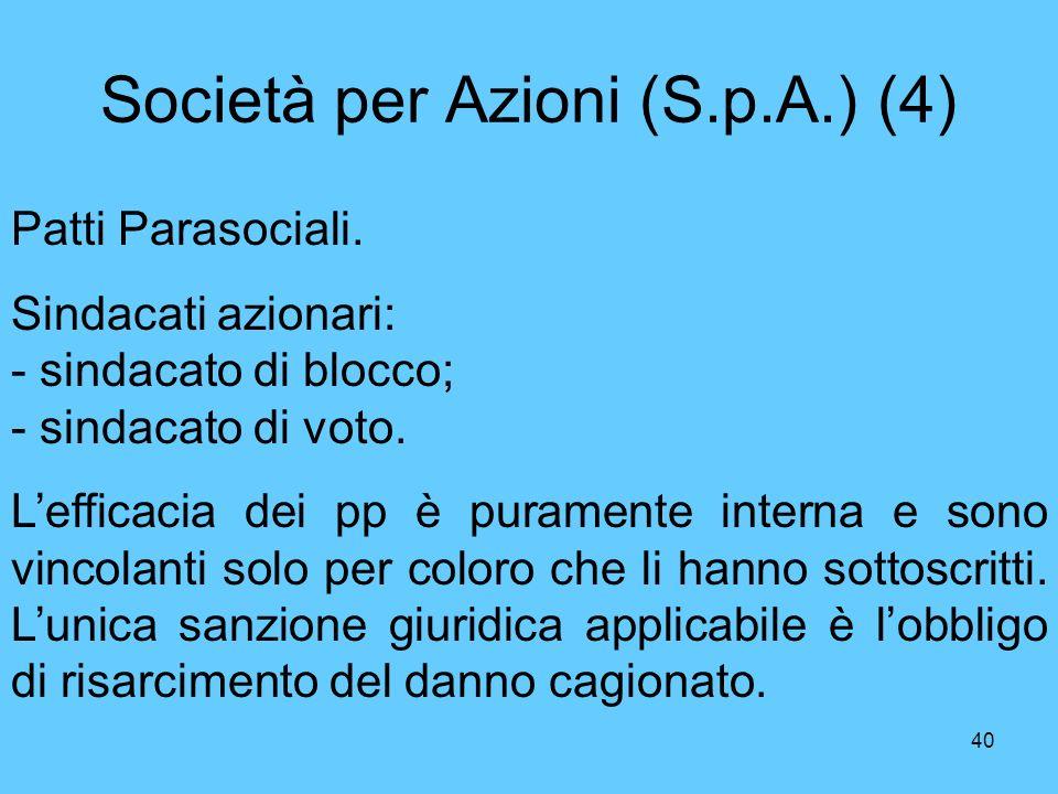 40 Società per Azioni (S.p.A.) (4) Patti Parasociali.