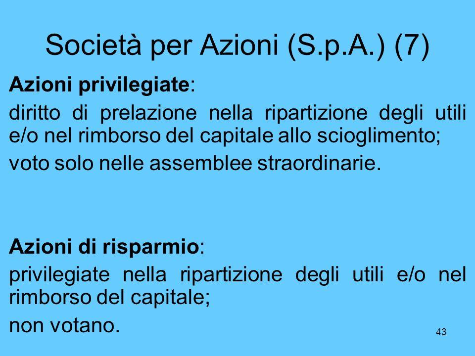 43 Società per Azioni (S.p.A.) (7) Azioni privilegiate: diritto di prelazione nella ripartizione degli utili e/o nel rimborso del capitale allo scioglimento; voto solo nelle assemblee straordinarie.