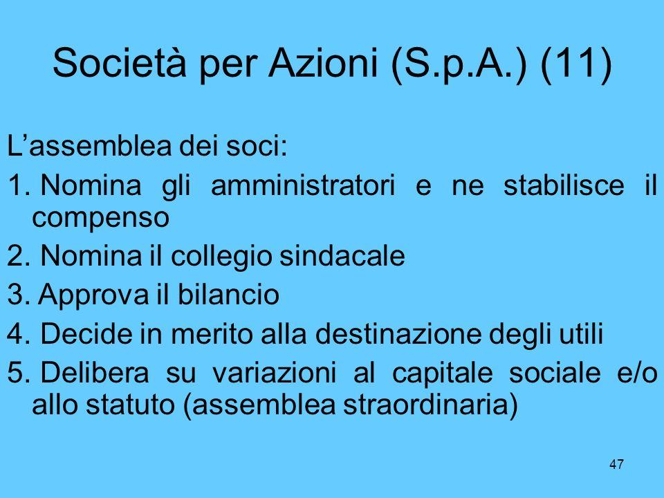 47 Società per Azioni (S.p.A.) (11) Lassemblea dei soci: 1. Nomina gli amministratori e ne stabilisce il compenso 2. Nomina il collegio sindacale 3. A