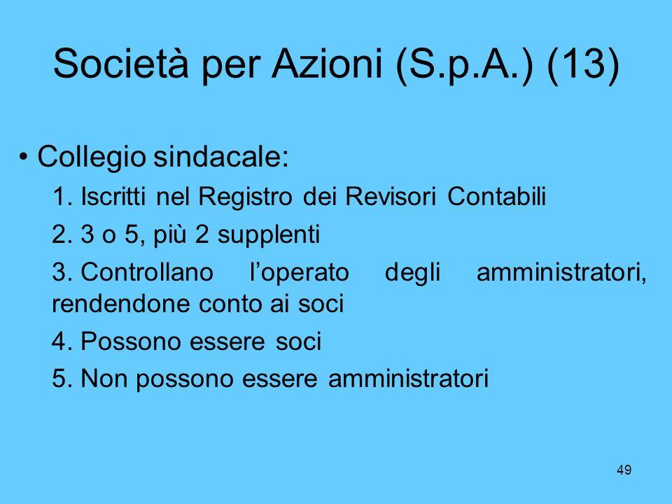 49 Società per Azioni (S.p.A.) (13) Collegio sindacale: 1. Iscritti nel Registro dei Revisori Contabili 2. 3 o 5, più 2 supplenti 3. Controllano loper