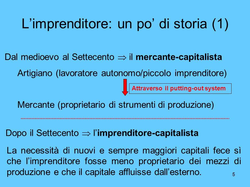 5 Limprenditore: un po di storia (1) Dal medioevo al Settecento il mercante-capitalista Artigiano (lavoratore autonomo/piccolo imprenditore) Mercante