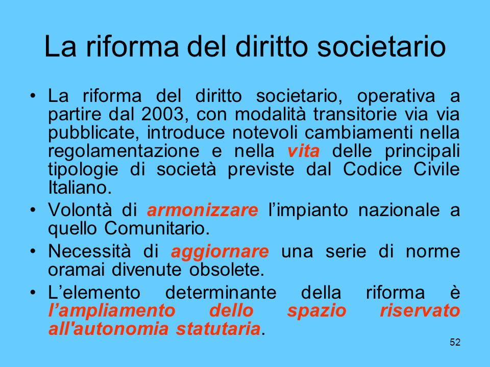 52 La riforma del diritto societario La riforma del diritto societario, operativa a partire dal 2003, con modalità transitorie via via pubblicate, introduce notevoli cambiamenti nella regolamentazione e nella vita delle principali tipologie di società previste dal Codice Civile Italiano.