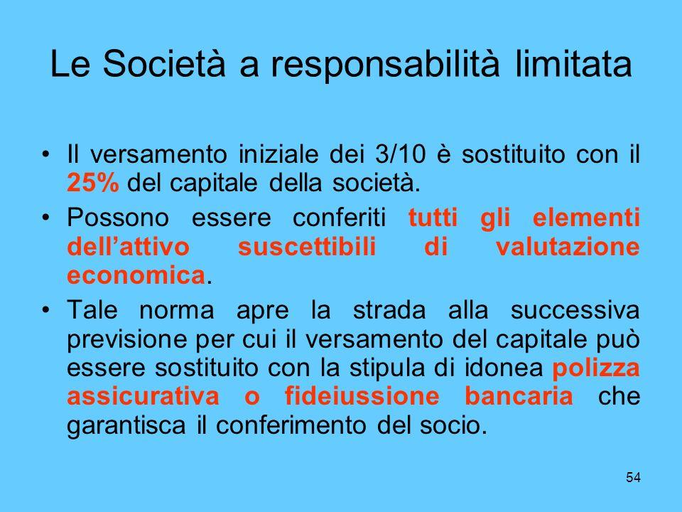 54 Le Società a responsabilità limitata Il versamento iniziale dei 3/10 è sostituito con il 25% del capitale della società. Possono essere conferiti t