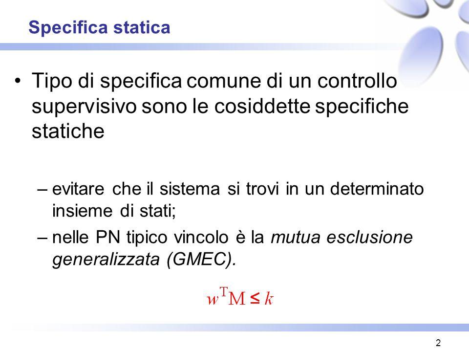 2 Specifica statica Tipo di specifica comune di un controllo supervisivo sono le cosiddette specifiche statiche –evitare che il sistema si trovi in un