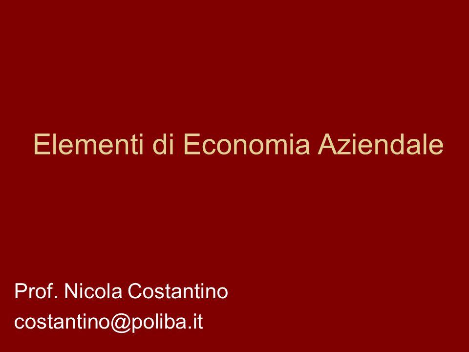 Elementi di Economia Aziendale Prof. Nicola Costantino costantino@poliba.it