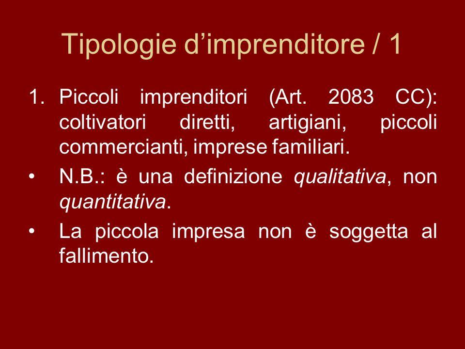 Tipologie dimprenditore / 1 1.Piccoli imprenditori (Art. 2083 CC): coltivatori diretti, artigiani, piccoli commercianti, imprese familiari. N.B.: è un