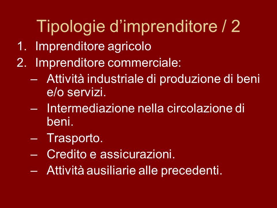 Tipologie dimprenditore / 2 1.Imprenditore agricolo 2.Imprenditore commerciale: –Attività industriale di produzione di beni e/o servizi. –Intermediazi