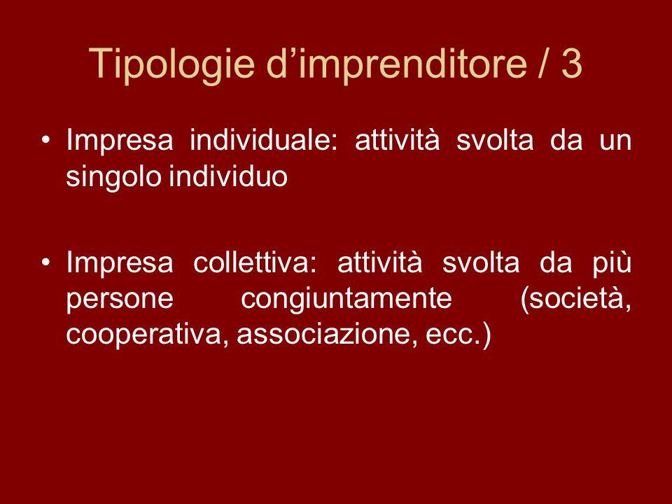 Tipologie dimprenditore / 3 Impresa individuale: attività svolta da un singolo individuo Impresa collettiva: attività svolta da più persone congiuntam