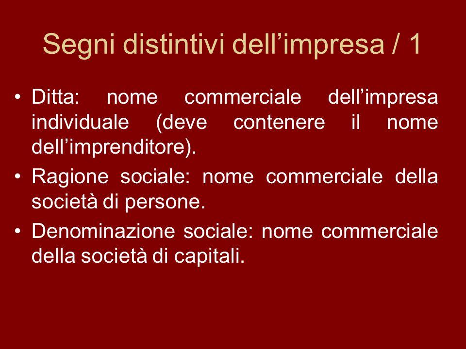 Segni distintivi dellimpresa / 1 Ditta: nome commerciale dellimpresa individuale (deve contenere il nome dellimprenditore).