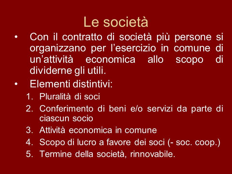 Le società Con il contratto di società più persone si organizzano per lesercizio in comune di unattività economica allo scopo di dividerne gli utili.