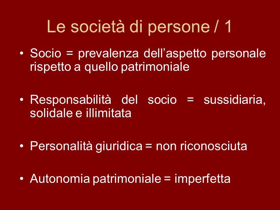 Le società di persone / 1 Socio = prevalenza dellaspetto personale rispetto a quello patrimoniale Responsabilità del socio = sussidiaria, solidale e illimitata Personalità giuridica = non riconosciuta Autonomia patrimoniale = imperfetta