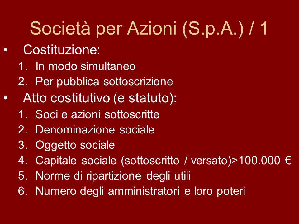 Società per Azioni (S.p.A.) / 1 Costituzione: 1.In modo simultaneo 2.Per pubblica sottoscrizione Atto costitutivo (e statuto): 1.Soci e azioni sottoscritte 2.Denominazione sociale 3.Oggetto sociale 4.Capitale sociale (sottoscritto / versato)>100.000 5.Norme di ripartizione degli utili 6.Numero degli amministratori e loro poteri