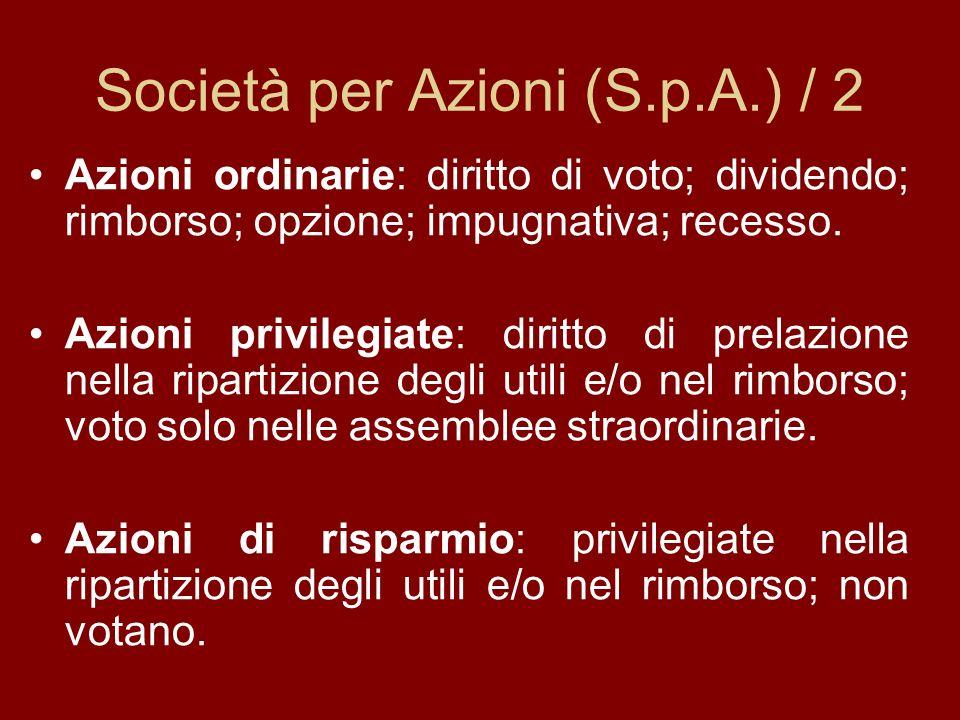 Società per Azioni (S.p.A.) / 2 Azioni ordinarie: diritto di voto; dividendo; rimborso; opzione; impugnativa; recesso.