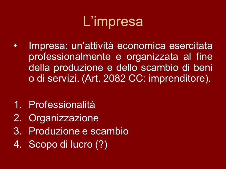 Limpresa Impresa: unattività economica esercitata professionalmente e organizzata al fine della produzione e dello scambio di beni o di servizi.