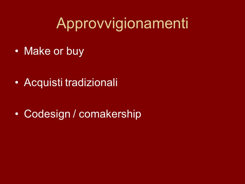 Approvvigionamenti Make or buy Acquisti tradizionali Codesign / comakership
